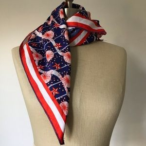 Lush knot wrap scarf red white blue